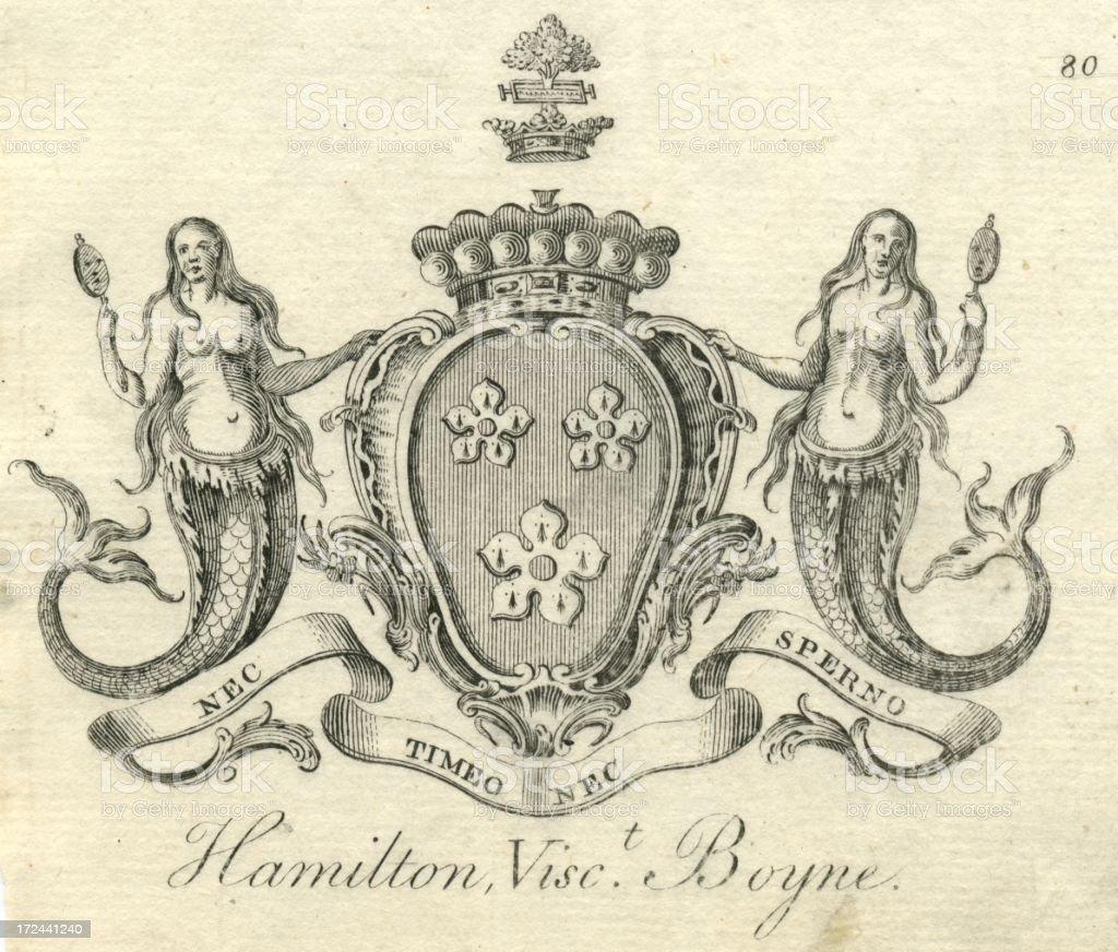 Coat of arms Hamilton, Viscount Boyne 18th century vector art illustration