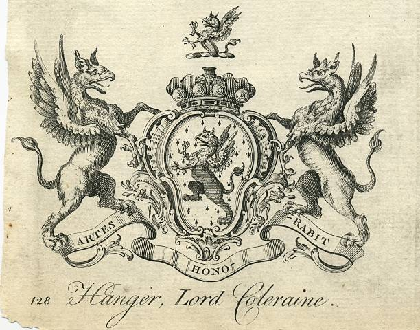 coat of arms hanger lord coleraine 18th century - whiteway engraving stock illustrations, clip art, cartoons, & icons