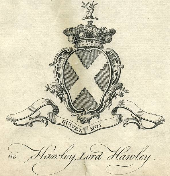 coat of arms lord hawley 18th century - whiteway engraving stock illustrations, clip art, cartoons, & icons