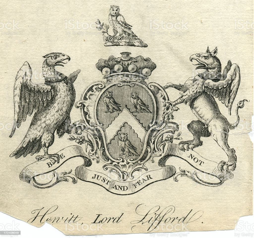 Coat of arms Hewitt Lord Lifford 18th century vector art illustration