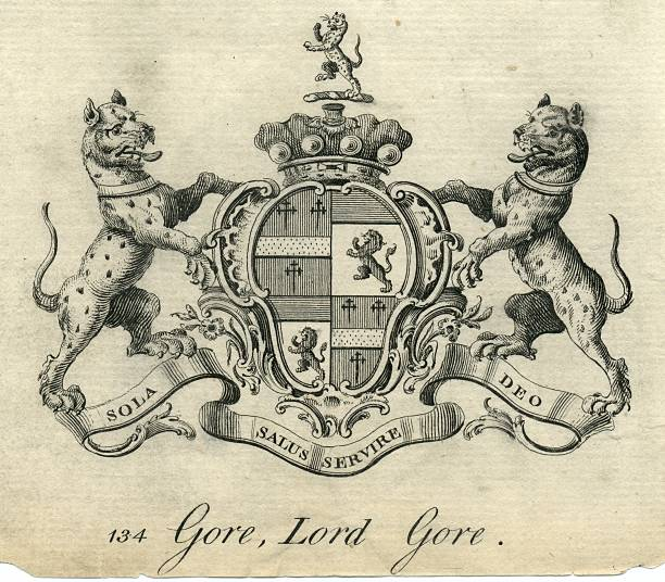 Coat of arms Lord Gore 18th century vector art illustration