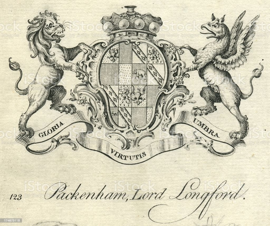 Coat of Arms Packenham or Pakenham Lord Longford vector art illustration