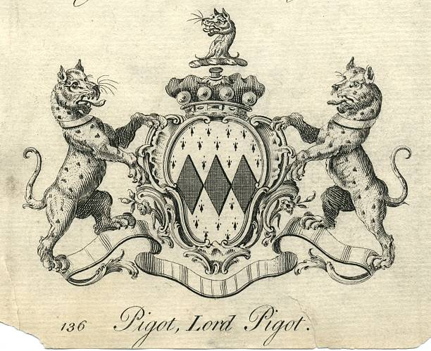 Coat of arms Lord Pigot 18th century vector art illustration