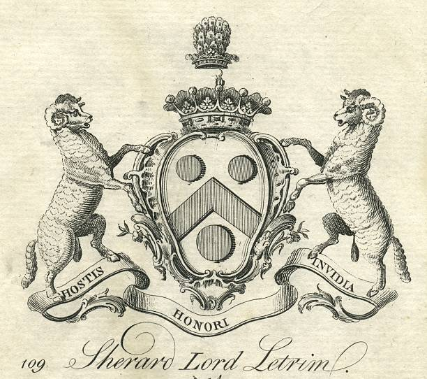 Coat of arms Sherard Lord Leitrim 18th century vector art illustration