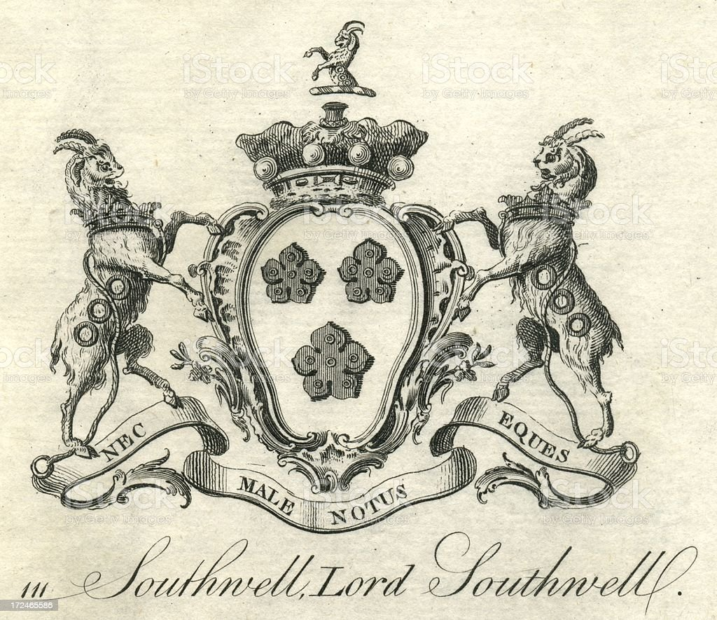 Coat of arms Lord Southwell 18th century vector art illustration