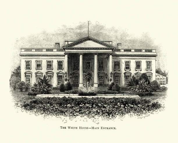 Engraving of the White House, Washington, USA, 19th Century Vintage engraving of the White House, Washington, USA, 19th Century white house stock illustrations