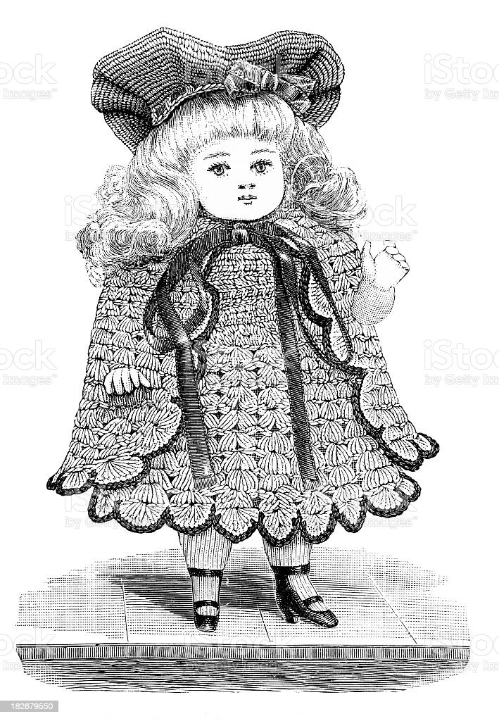 engraving of Victorian doll wearing crocheted dress vector art illustration