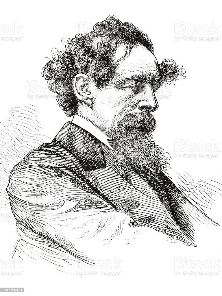 Engraving of writer Charles Dickens from 1875 royalty-free stock vector art
