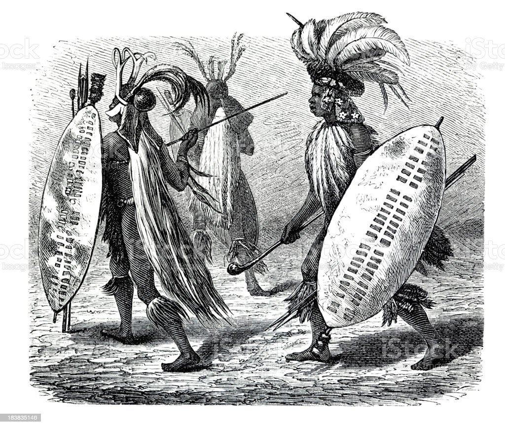 Engraving of Zulu warriors in Africa from 1870 vector art illustration
