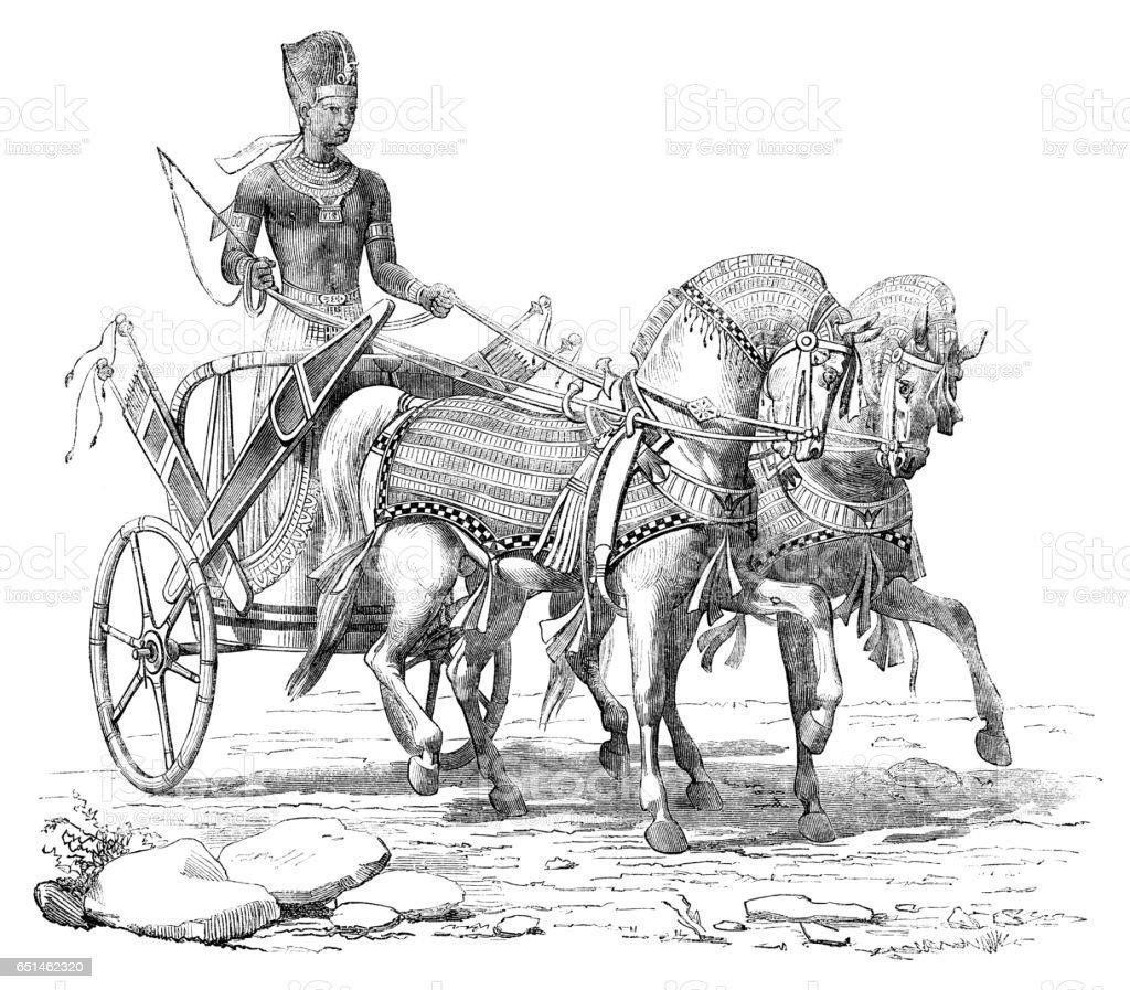Engraving Pharaoh on chariot at procession 1868 vector art illustration