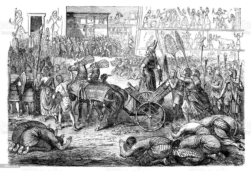 Engraving Pharaoh on chariot at procession vector art illustration