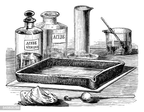 Engraving plate treatment with hard water - Scanned 1870 Engraving