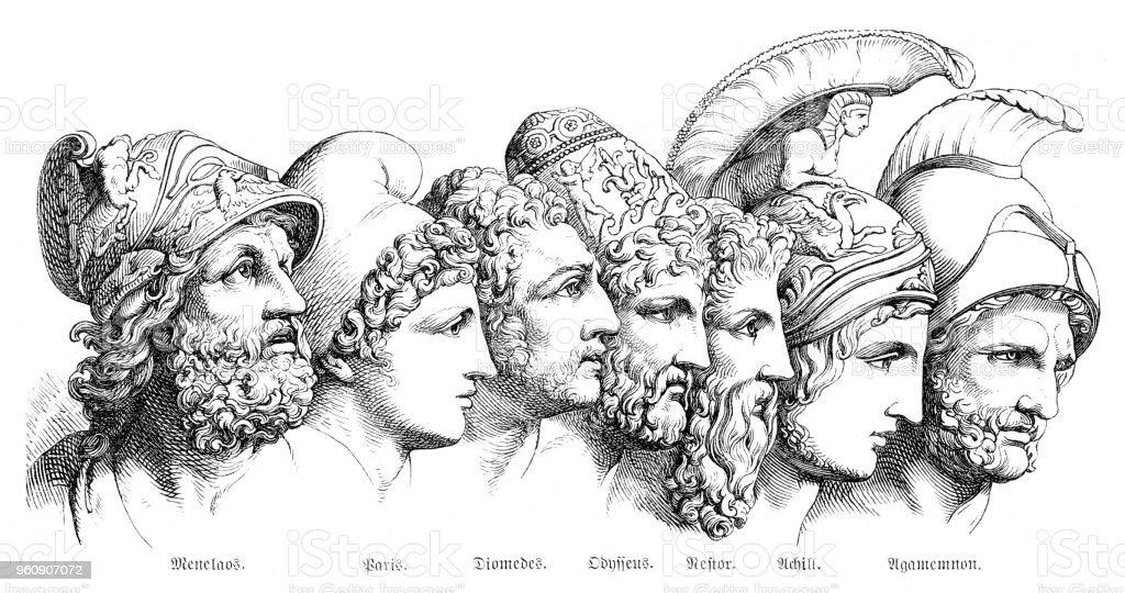 Engraving Portrait Of Greek Heroes Of Troja 1880 Stock