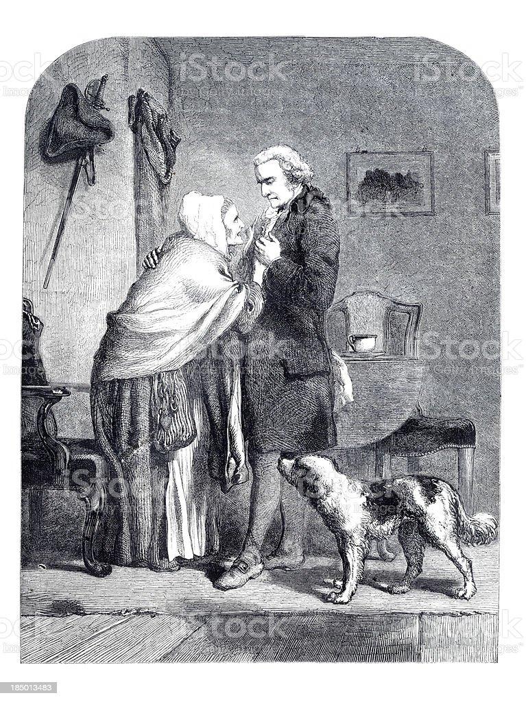 Engraving President Washington saying Goodbye to his mother royalty-free stock vector art