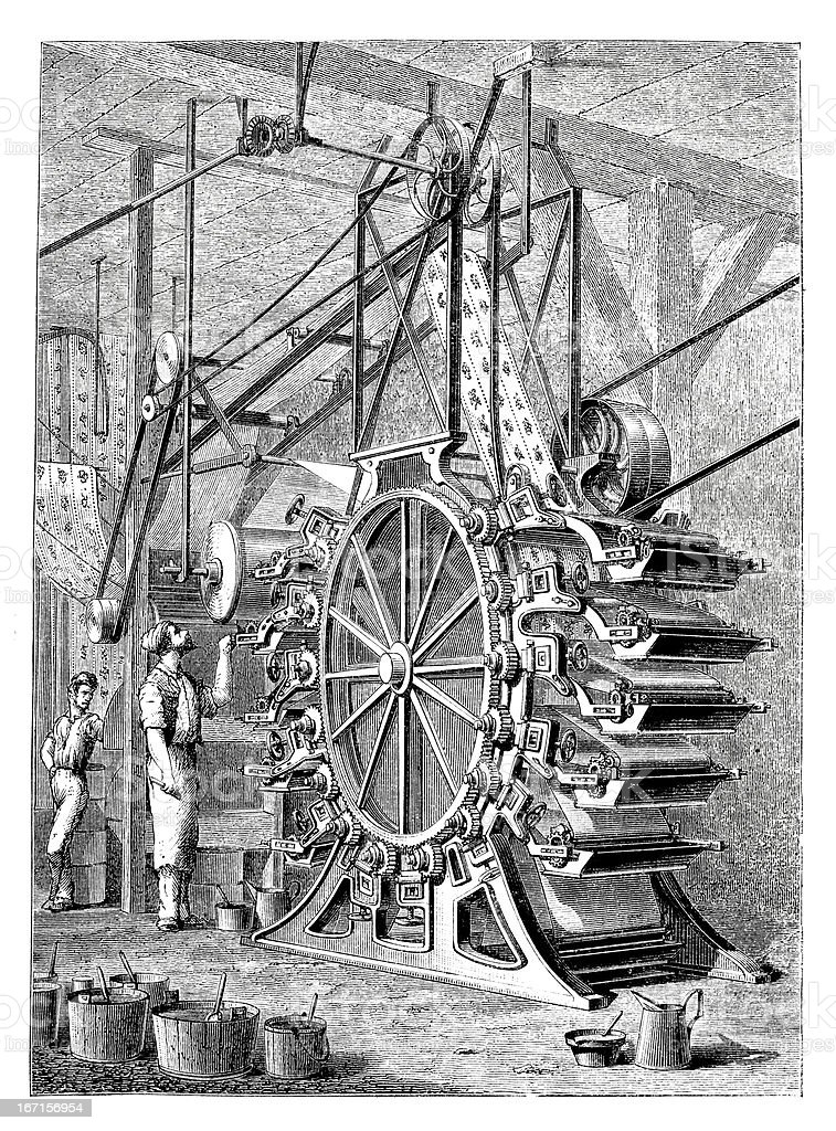 Engraving rotary printing machine from 1870 royalty-free stock vector art
