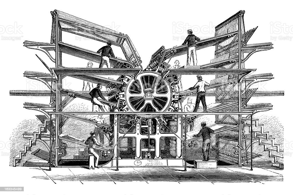 Engraving Rotary printing press from Richard Hoe 1870 vector art illustration