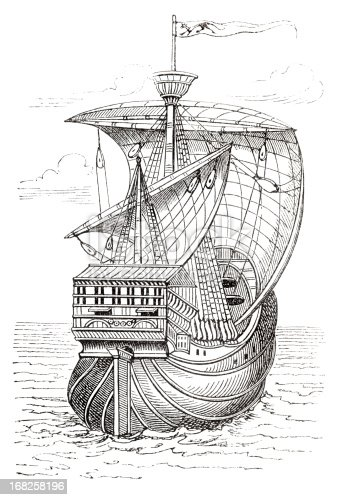Steel engraving of Christopher Columbus ship from 1873