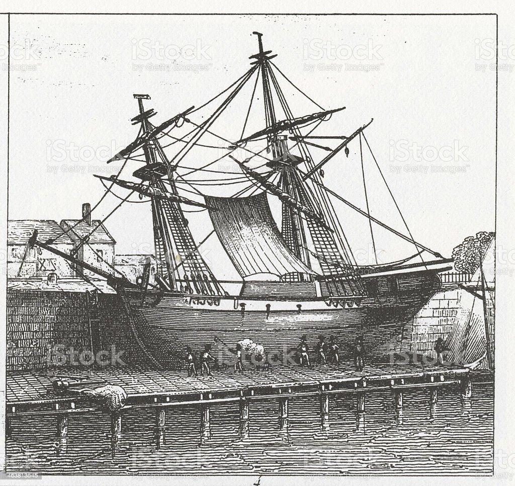 Ilustración de Grabado Barco En El Muelle Graving y más banco de ...