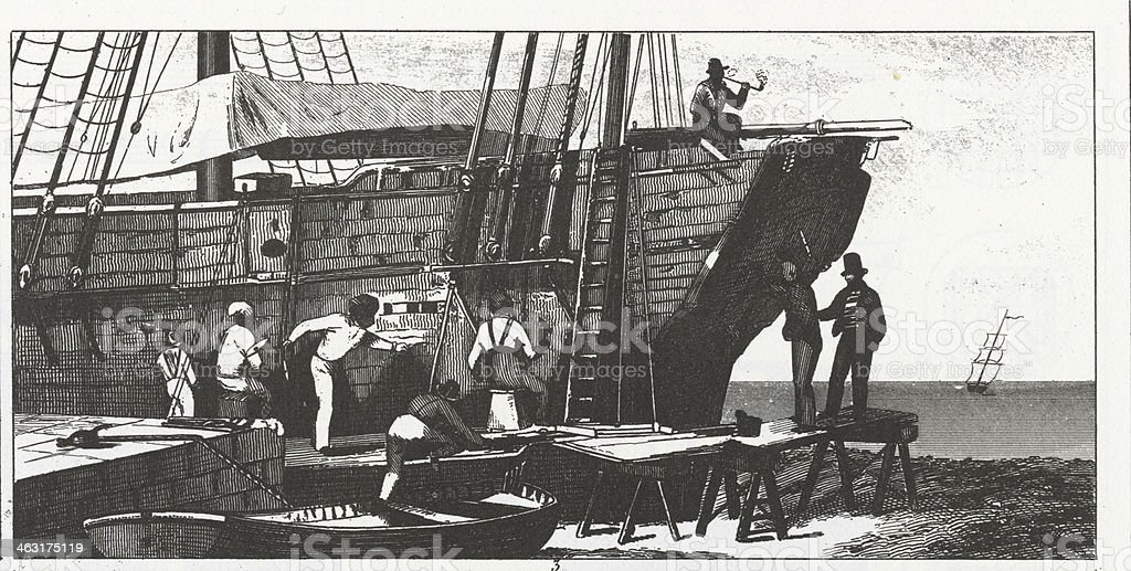 Engraving: Shipbuilding/Caulking royalty-free engraving shipbuildingcaulking stock vector art & more images of 19th century