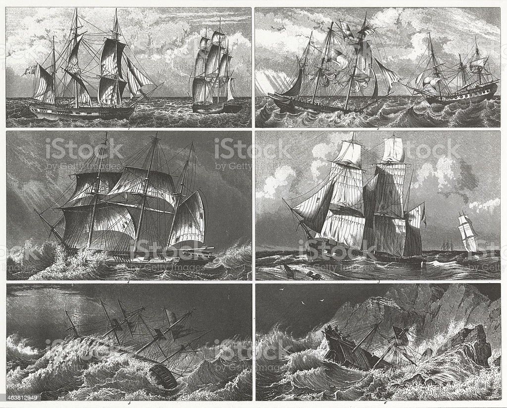Engraving: Ships at Sea vector art illustration