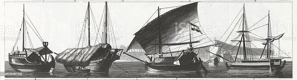 Engraving: Ships of the Far East royalty-free engraving ships of the far east stock vector art & more images of 19th century