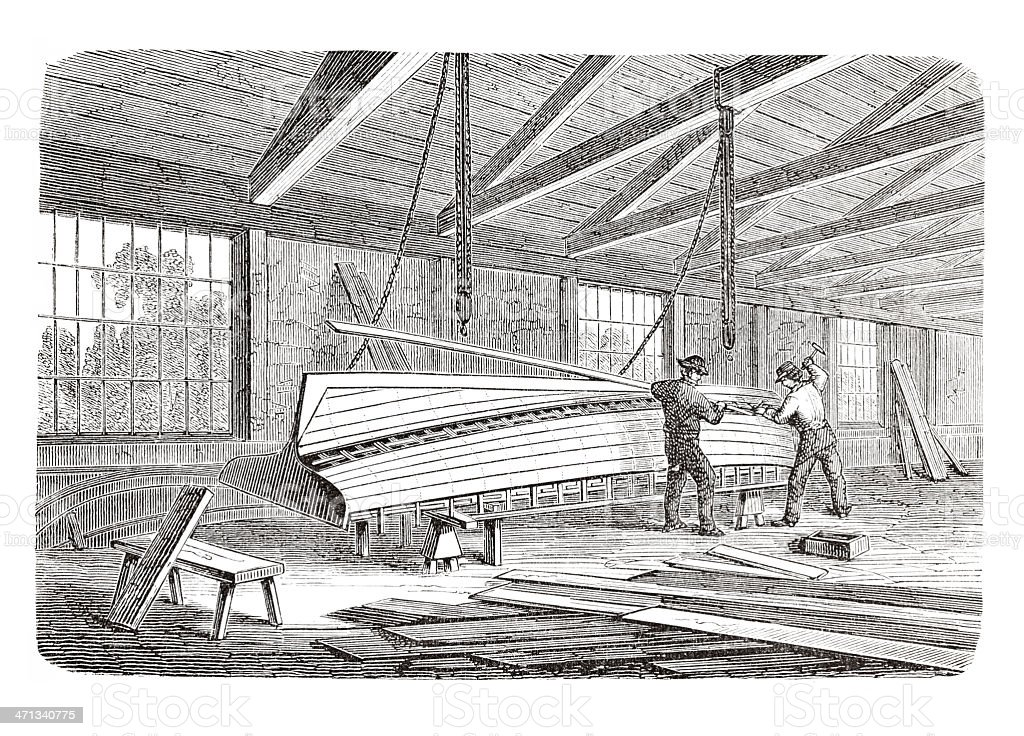 Engraving Shipyard Worker Building A Wooden Ship From 1880 Royalty Free Stock Vector Art