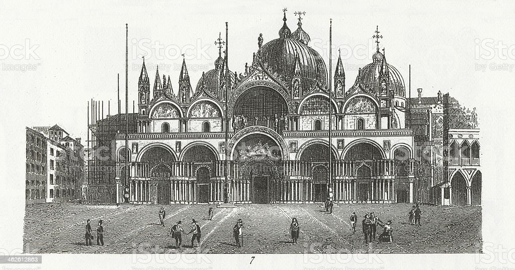 Engraving: St. Mark's Church, Venice vector art illustration