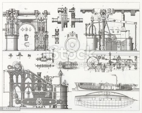 Engraved illustrations of the Construction of Steamships from Iconographic Encyclopedia of Science, Literature and Art, Published in 1851. Copyright has expired on this artwork. Digitally restored.