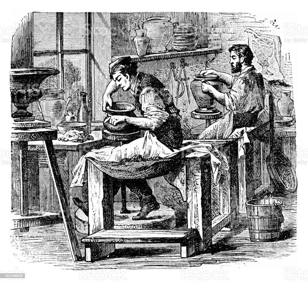 Grabado de dos hombres que trabajan en 1882 taller de cerámica - ilustración de arte vectorial
