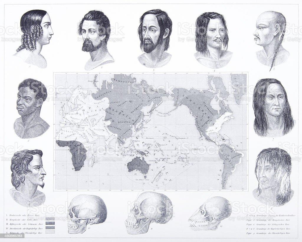 Engraving: Varieties of Mankind vector art illustration