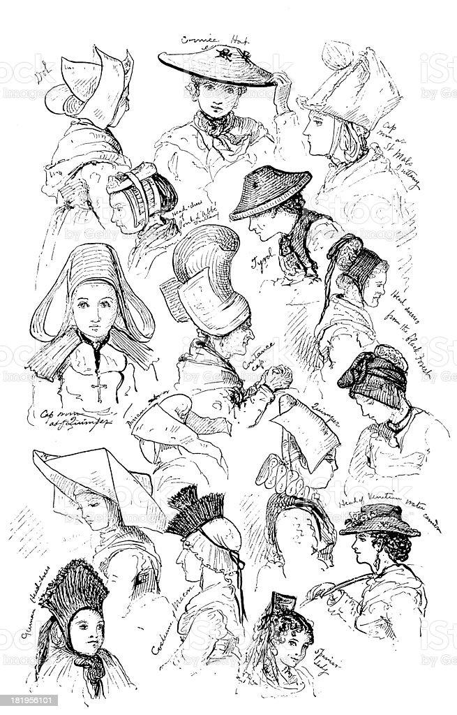 Engraving: Variety of Women's Headwear vector art illustration