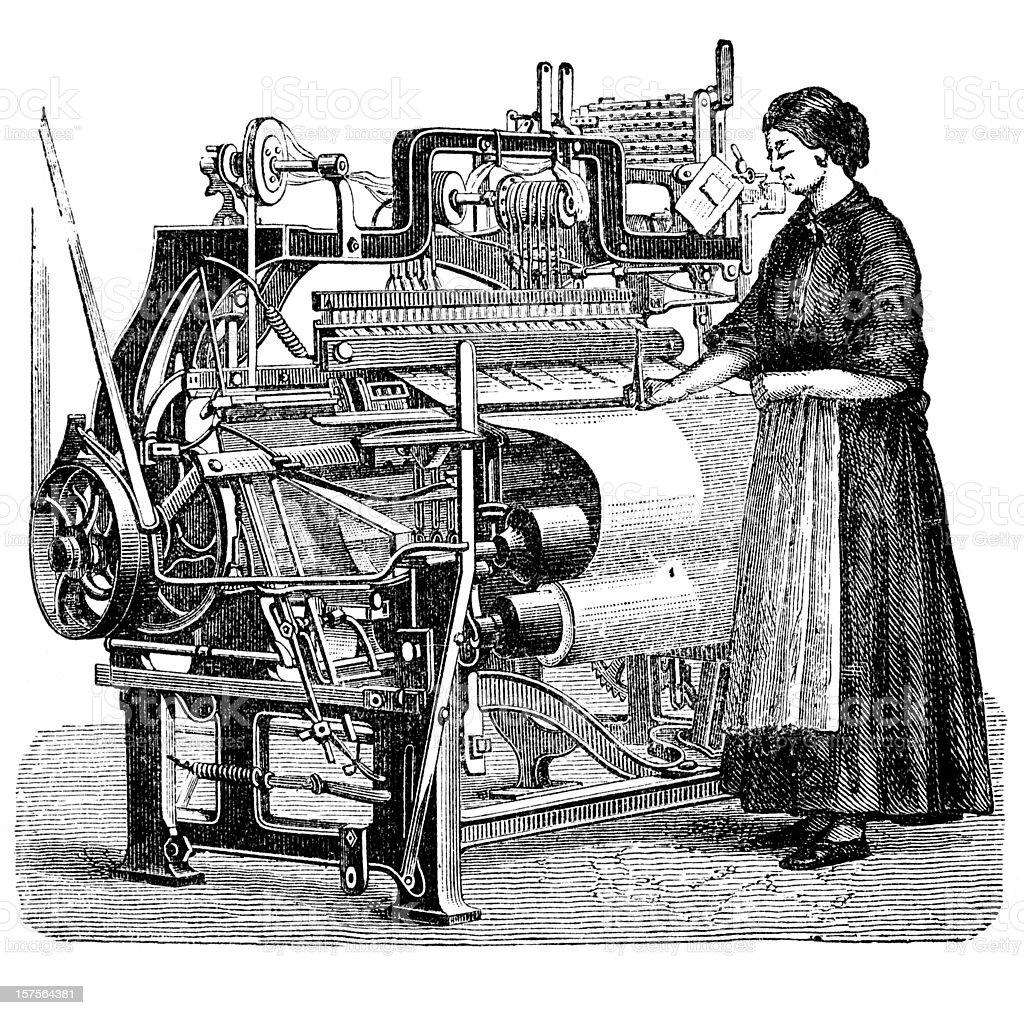 Engraving woman weaving cloth on power loom 1882 vector art illustration