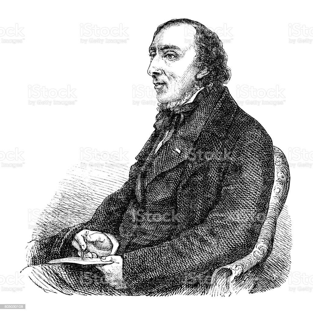 Engraving writer Hans Christian Andersen 1870 vector art illustration