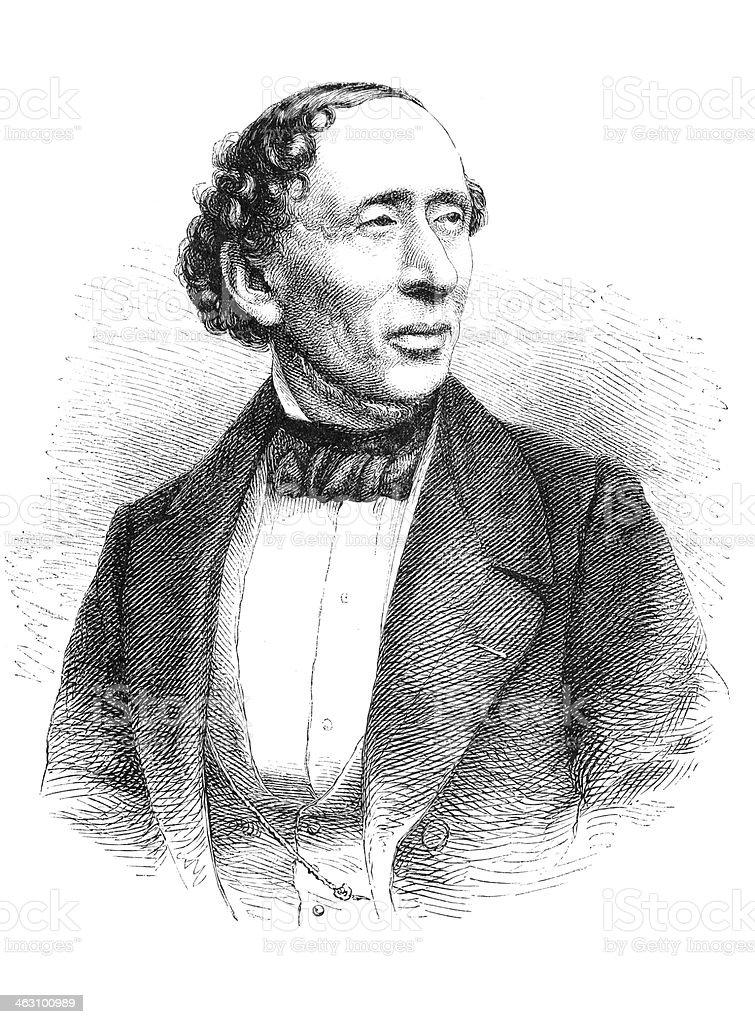 Engraving writer Hans Christian Andersen 1874 vector art illustration