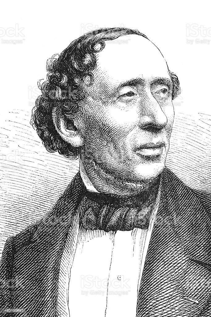 Engraving writer Hans Christian Andersen 1874 royalty-free stock vector art