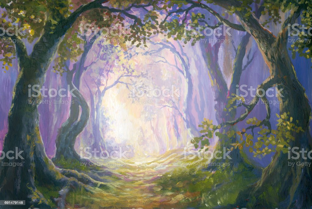 Enigmatic forest, oil painting vector art illustration