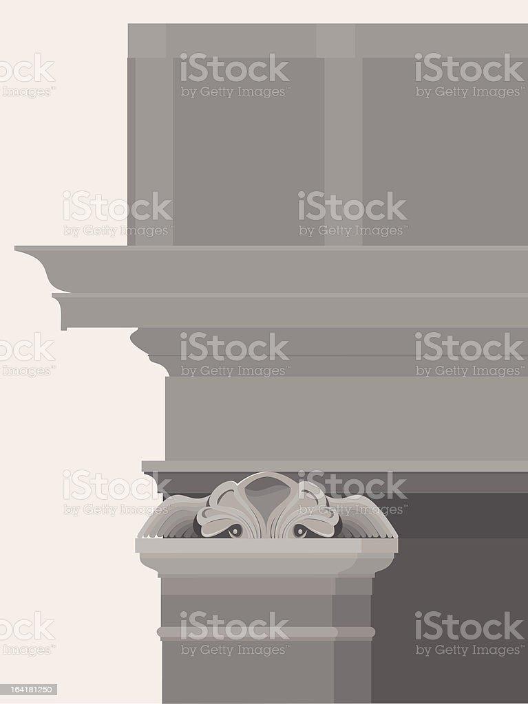 Entablamento com colunas, capitais e molduras - ilustração de arte em vetor