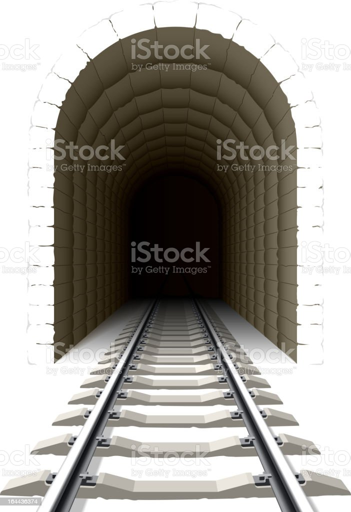 Entrance to railway tunnel royalty-free stock vector art