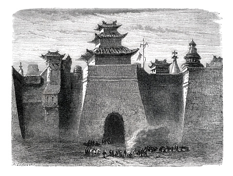 Entrance to the city of Beijing in China 1864