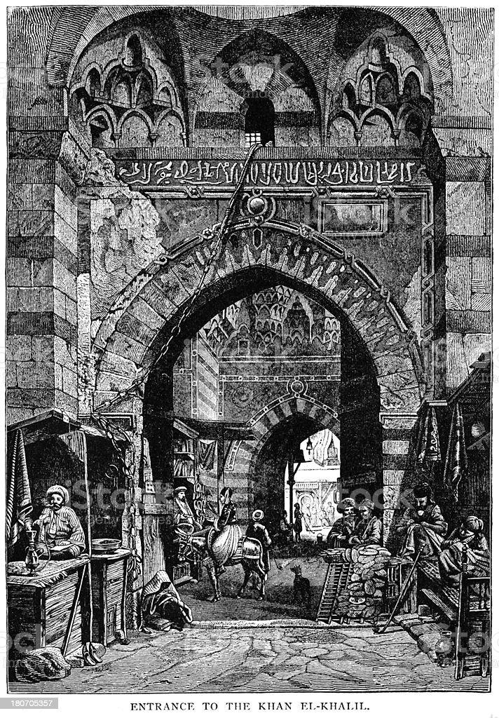 Entrada para o Khan El-Khalili, Cairo, Egito - ilustração de arte em vetor