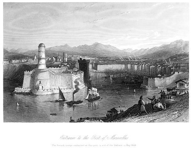 stockillustraties, clipart, cartoons en iconen met entrance to the port of marseilles - marseille