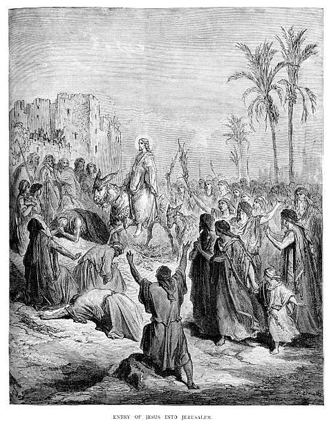 entry of jesus into jerusalem - palm sunday stock illustrations, clip art, cartoons, & icons