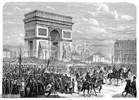 Illustration of a Entry of the German troops into Paris on the Arc de Triomphe, on March 1, 1871, Franco-German war