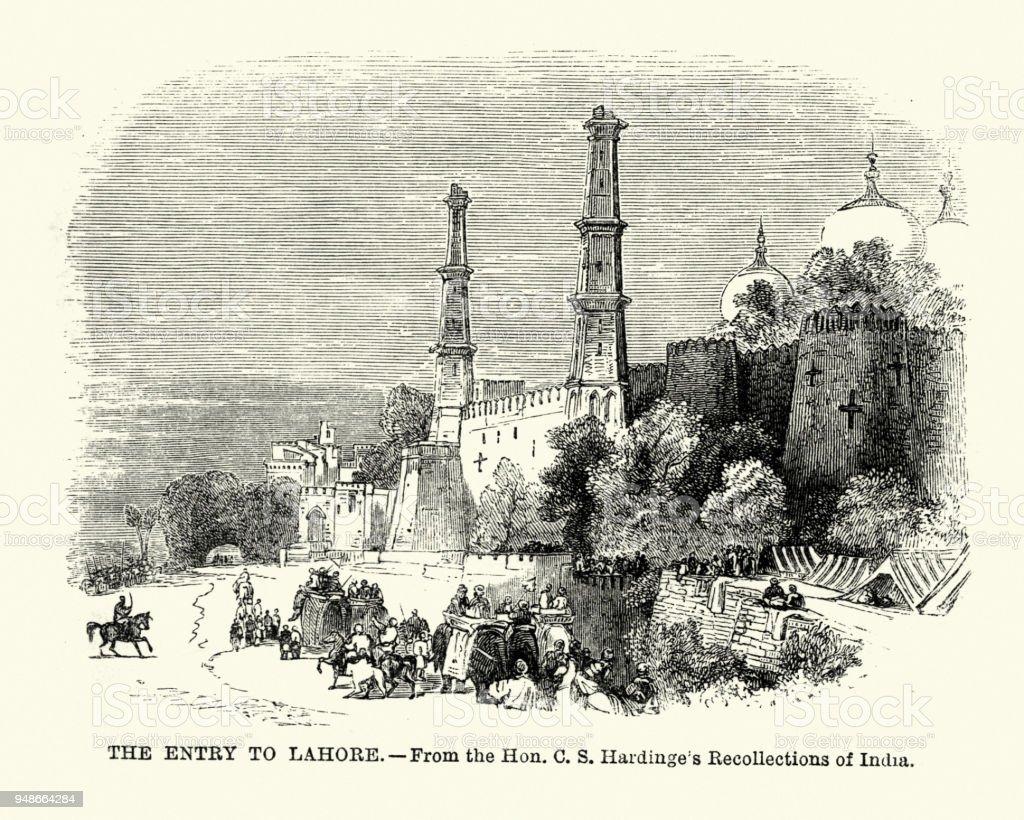 Entry to Lahore, Punjab, Pakistan, 19th Century vector art illustration