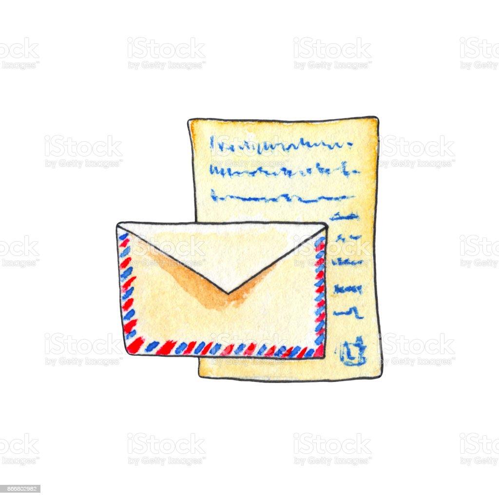 Umschlag Und Brief Von Aquarellen Auf Weißem Hintergrund Papier