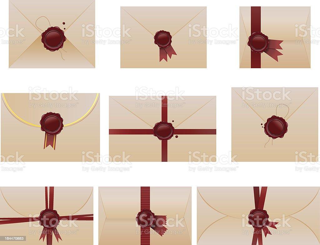 envelope set with wax seals vector art illustration