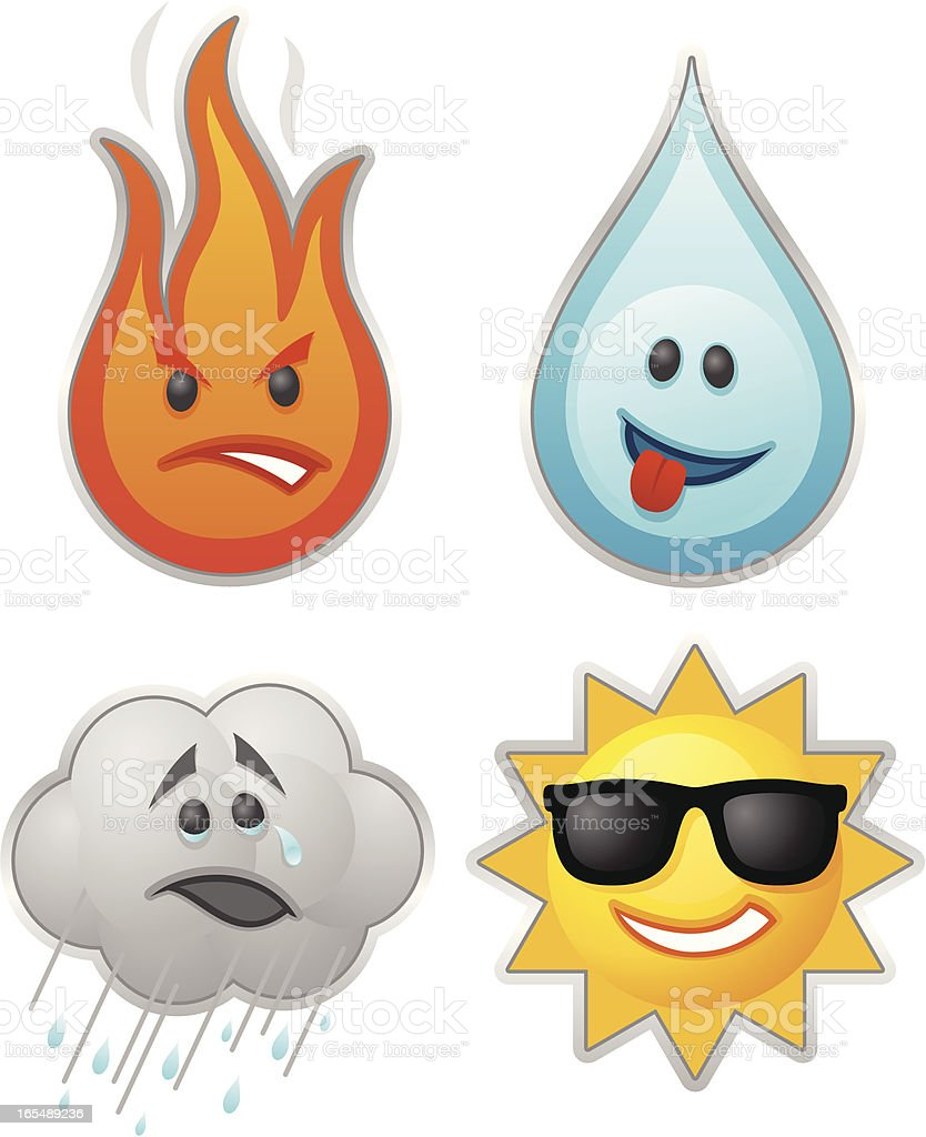 Enviromental Emoticons vector art illustration