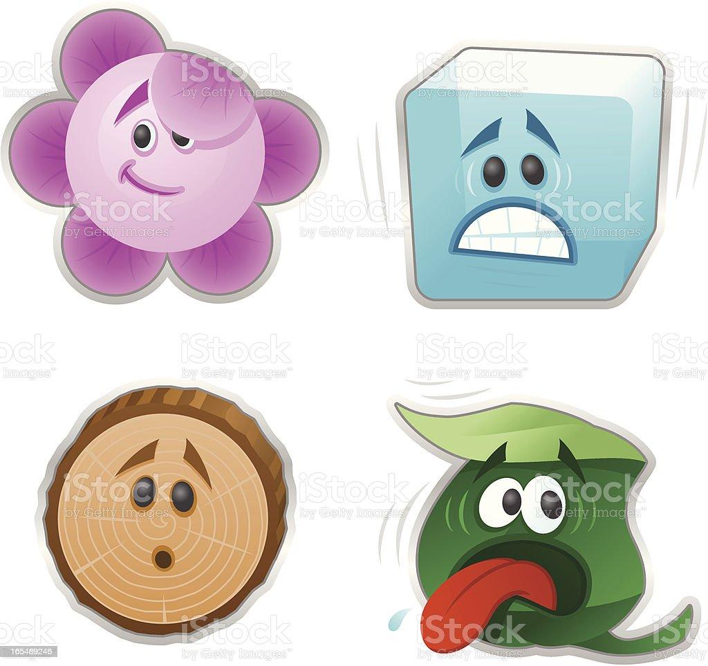 Enviromental Emoticons vector art illustration