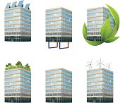 Environmental Office Building Icons