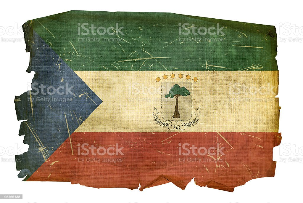 Equatorial Guinea Flag old, isolated on white background. royalty-free equatorial guinea flag old isolated on white background stock vector art & more images of aging process